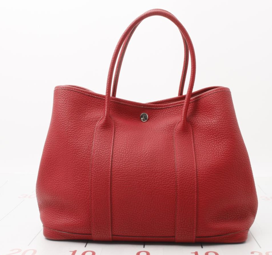 Used brand designer HERMES Garden Party Red Leather Hand Bags for bulk sale.
