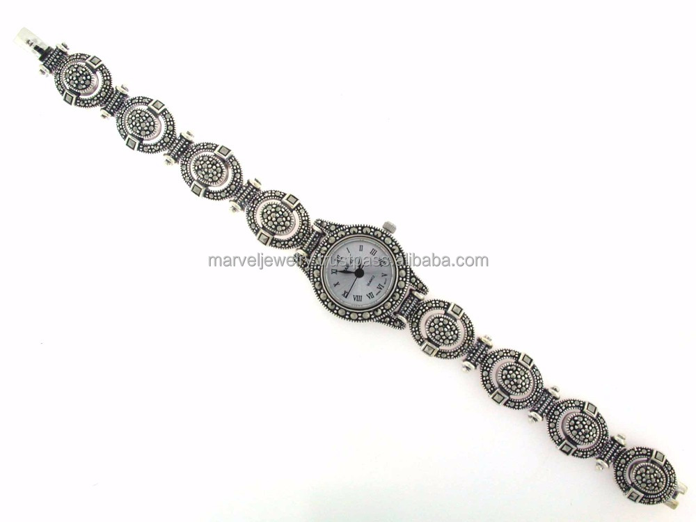 925 Sterling Silver Thailand Marcasite Watch