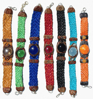 Woven Leather Bracelets with Colored Murano Glass Bead Peruvian Handmade Boho Hippie Jewelry