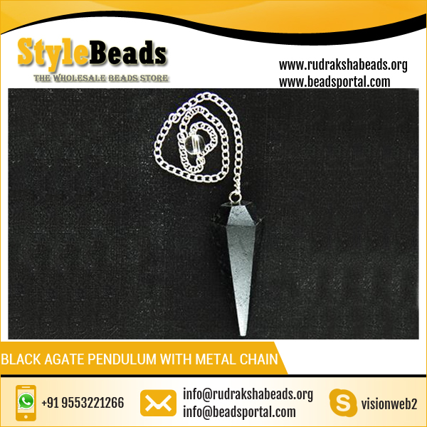 Black Agate Pendulum with Metal Chain Dowsing Chain Pendulum Crystal