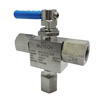 "High Quality 3 Way Ball Valve, 10000 psi, SS 316, 3/8"" female, for Oil, Water, Gas, equivalent to Swagelok, Parker, Autoclave"