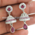New fashion for girls jhumka ruby, white cz gemstone earring 925 sterling silver jewelry wholesalers