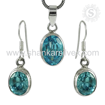 Glittering fashion blue topaz gemstone jewellery set 925 sterling silver jewelry manufacturer