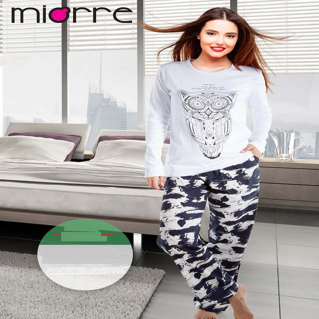 MIORRE OEM WOMEN'S NEW 2017 SLEEPWEAR & PAJAMAS COLLECTION COMFORTABLE & ELEGANT CARTOON PRINTED COTTON PAJAMAS SET