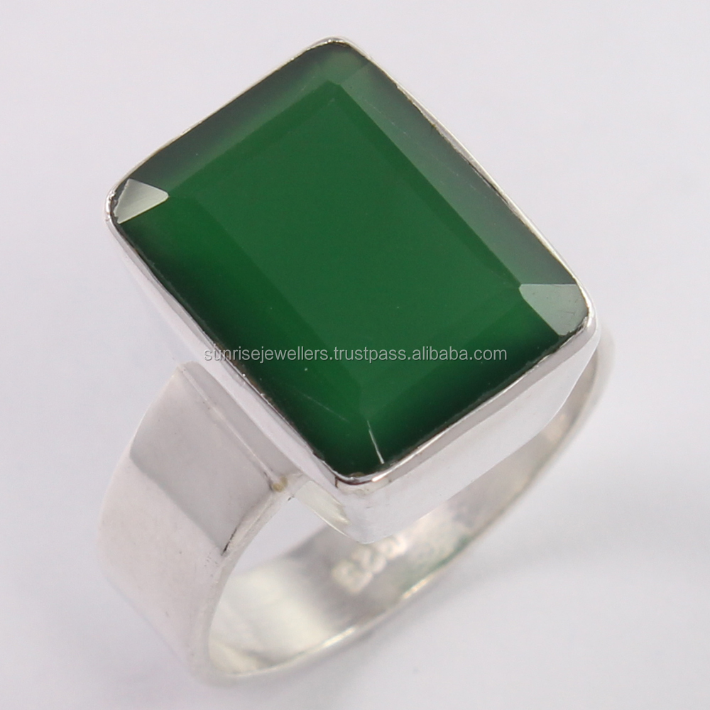 925 Sterling Silver Amazing Ring Any Size Natural GREEN ONYX Rectangle Faceted Gemstone