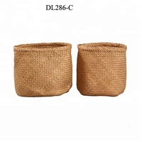 Vietnam wholesale wicker seagrass rattan straw woven weave storage laundry handmade houseware, foldable seagrass basket