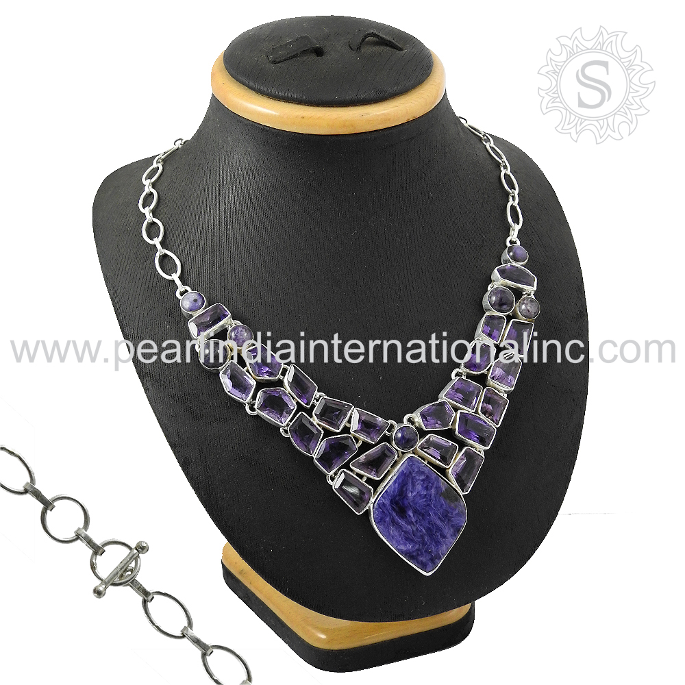 Rare design multi gemstone silver necklace 925 silver necklace wholesaler silver jewellery manufacturer