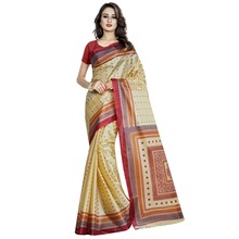Stylish Beige Colored Printed Art Silk Casual Wear Saree Without Blouse