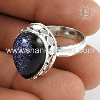 Glittering fashion blue sunstone ring silver jewellery 925 sterling silver wholesale jewelry rings