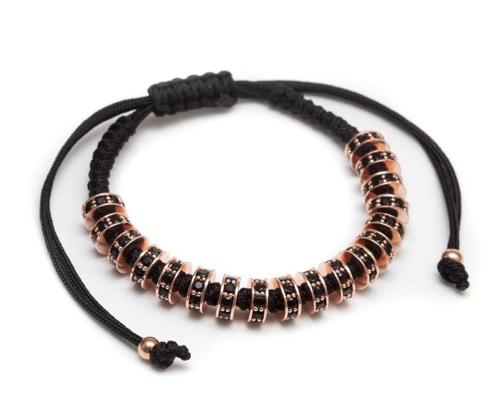 New Arrival Copper beads Braided Rope Bracelet With Zircon Diamond Men Wrap Bracelets