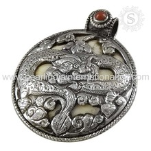 Red coral pendants 925 sterling silver gemstone jewellery pendants manufacturer