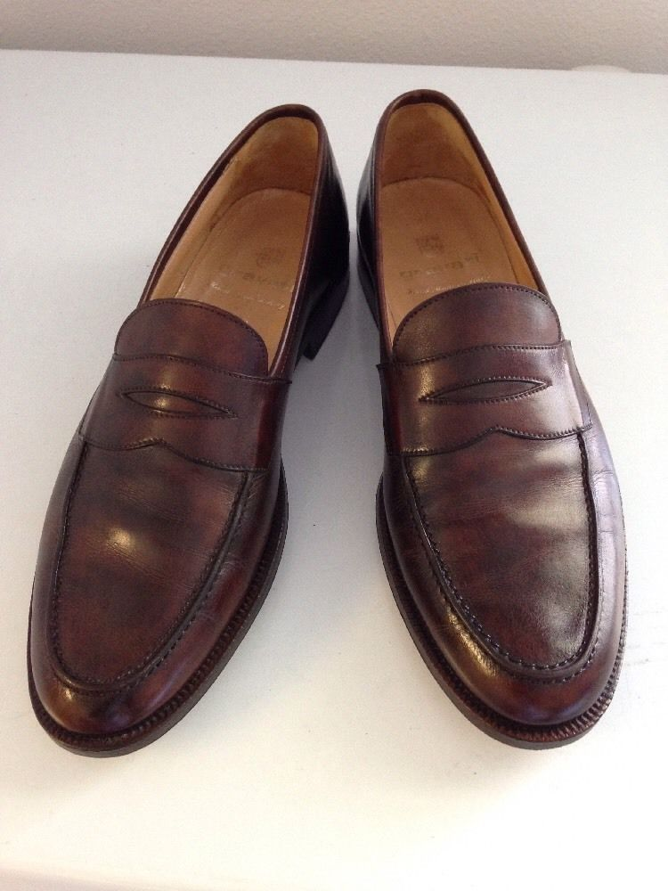 GRAVATI Antique Brown Leather Mens Penny Loafer Dress Shoes ITALY -