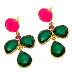 new 2018 latest gold earring designs high quality Green Tourmaline Hydro gemstone long earring