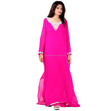 Extraordinary very fancy abaya high sale best manufacture made vintage Design on neck attractive shine pink colour kaftan dress.