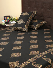Wholesale Black Cotton Gold Printed Paisley Floral New Bed Sheet Design