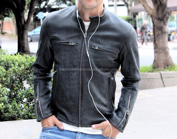 Leather Jacket in Black Color with Distressing effects- Mens 100% Real Leather