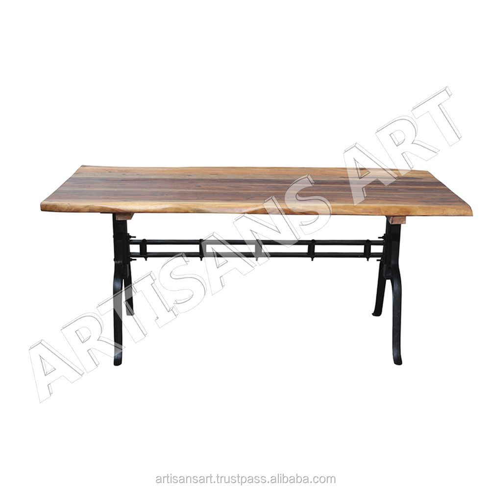 Industrial Live Edge Iron Base Dining Table, Solid Wood Slab Dining Table , Acacia wood Dining Table Manufacturer
