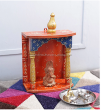 Multicolour Solid Wood Handpainted Indian Hindu Jodhpuri Wooden Temple Design For Home Pooja Mandir