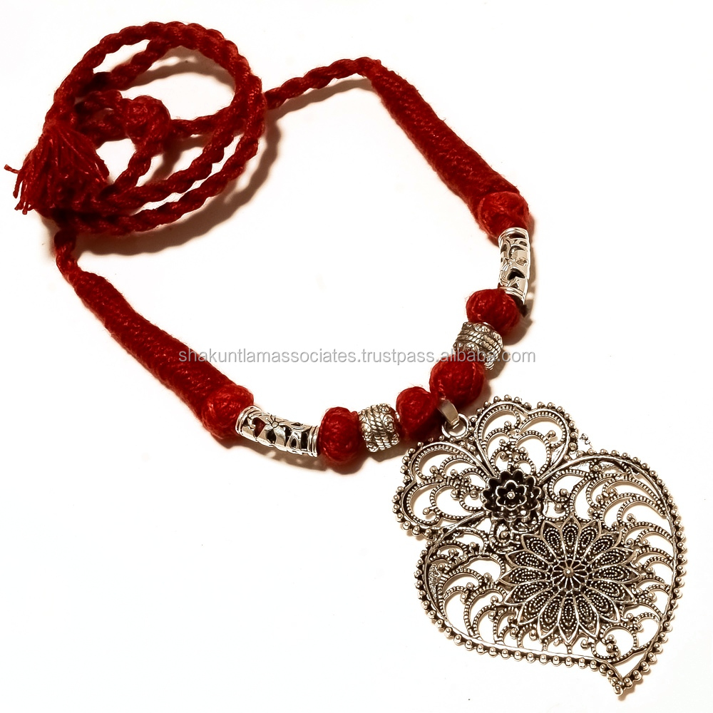 Sterling Silver Overlay Oxidized Pendant Red Color Cotton Thread Necklace in Adjustable Size