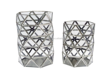Modern Metal Glass Facets Hurricane