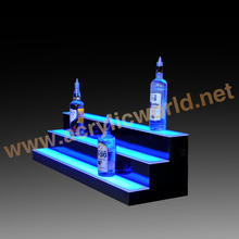 LED LIGHTED BAR SHELF, Three Step Liquor Bottle Glorifier, Back Bar Shelving