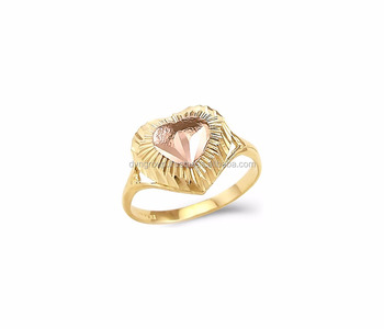 Two Tone Plated Heart Shaped Ring