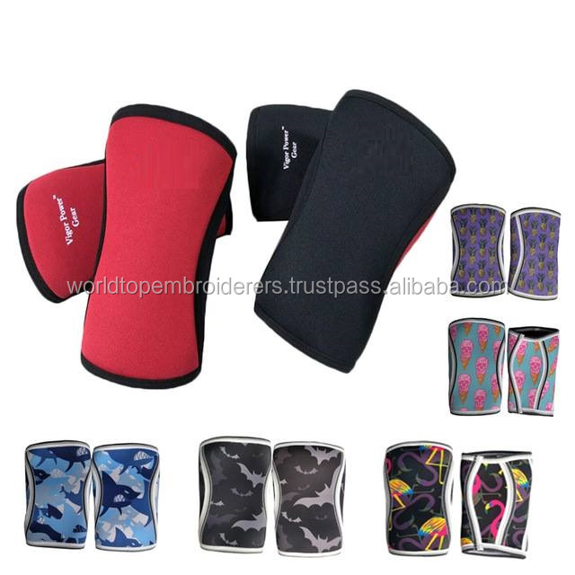 Power Lifting Sublimated Knee Sleeves / Weightlifting Neoprene Sublimated Knee Sleeves / Customized Cheap 7mm Sleeves