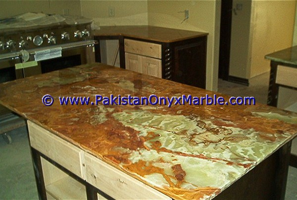 Hotel Project Home Kitchen Bathroom Artificial Stone Multi Green Onyx Counter tops