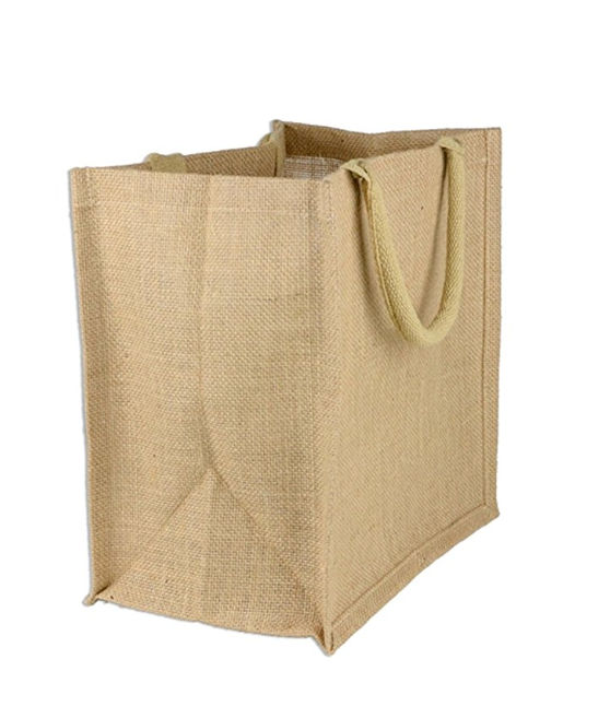 Reusable Jute Burlap Grocery Tote Bags Laminated Interior Full Gusset