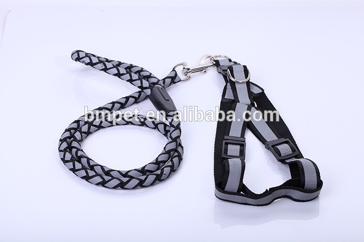 Pet Supply Hot Sale Reflective Braided Dog Leash with Harness