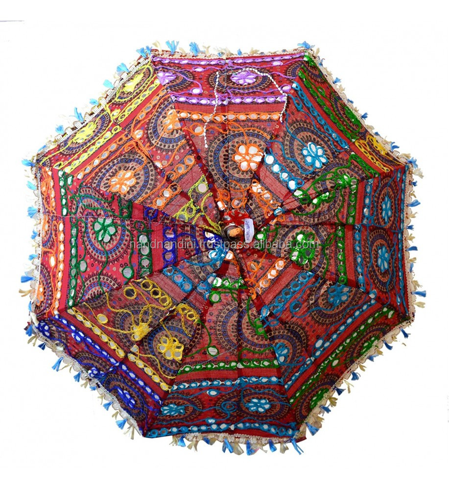 24'' Vintage Cotton Parasol Indian Hand Embroidered handmade indian parasols
