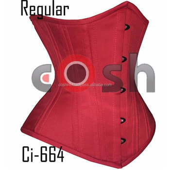 "12"" Inches Red Cotton Regular Underbust Steelbones Waist Trainer Corsets bodice Supplier"