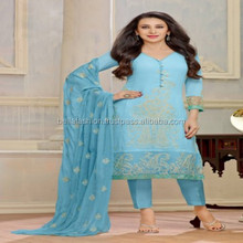 Fancy Color Designer Embroidered Worked Straight Suits Woman Wear Dress