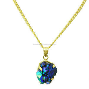 Wholesale Prong Setting Titanium Druzy Stone Gold Filled Party Wear For Girls Pendant