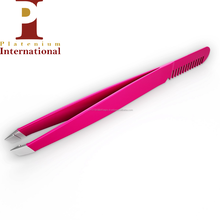 Silver round curved tip with beautiful design Eyebrow Tweezer
