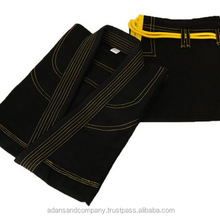 Light Yellow Contrast processed pre Shrink 100 % cotton pearl Weave Black Pakistan Bjj Gi