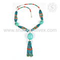 Splendid coral, turquoise gemstone necklace handmade 925 sterling silver jewelry necklaces exporter