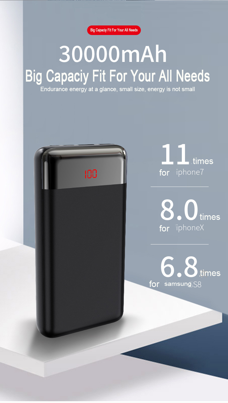 2A fast charge universal two output three input 30000 mAh Portable LED Digital Display Power Bank USB Type-C External Battery