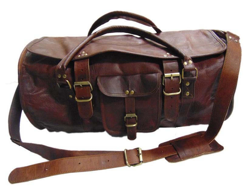 "Bag Leather Duffel Travel Men Luggage Gym Vintage Genuine Weekend Overnight New/"""