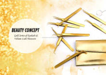 New Arrivals!! Golden Black Glitter Eyelash Extension Tweezers/ I-Type/X-Type/L-Type/Curved/Hook/Chisel Volume Tweezers