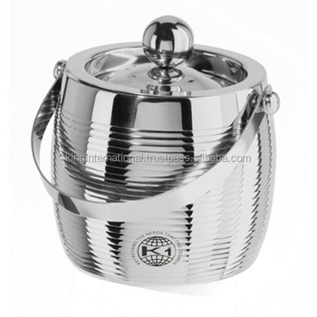 Stainless Steel Double Wall Ice bucket with tong