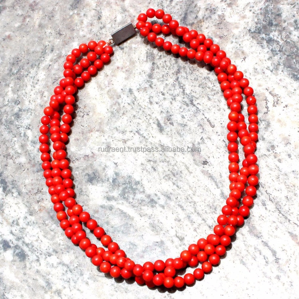 Multi Strand Red Coral Necklace, Latest Design Beads necklace