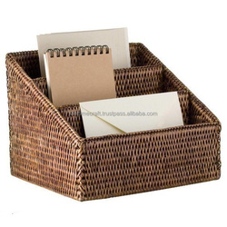 Brown rattan letter holder/ office supply organizer
