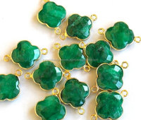 Gold Plated Sterling Silver Clover Cut Emerald Gemstone Bezel Connectors with 2 loops
