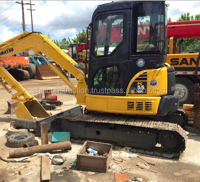 Used condition japan mini excavator komatsu PC55MR good quality cheap price hot selling in Shanghai China .