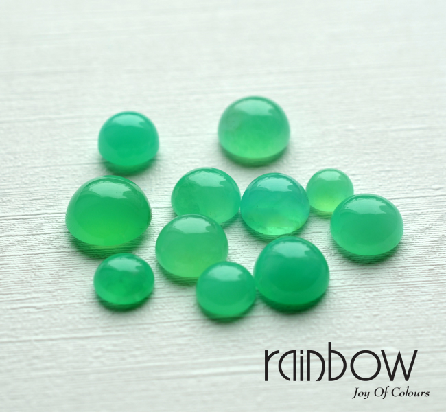 Very High Quality Natural Chrysoprase - Deep Sky Round from 8mm to 12mm (Mix Size)Free Shipping/Free Sample with Return & Refund