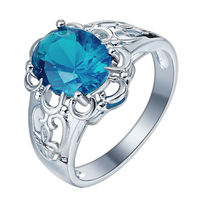 925 Silver Ring Aquamarine & Blue Sapphire Wedding Ring Women Man Size 6-10