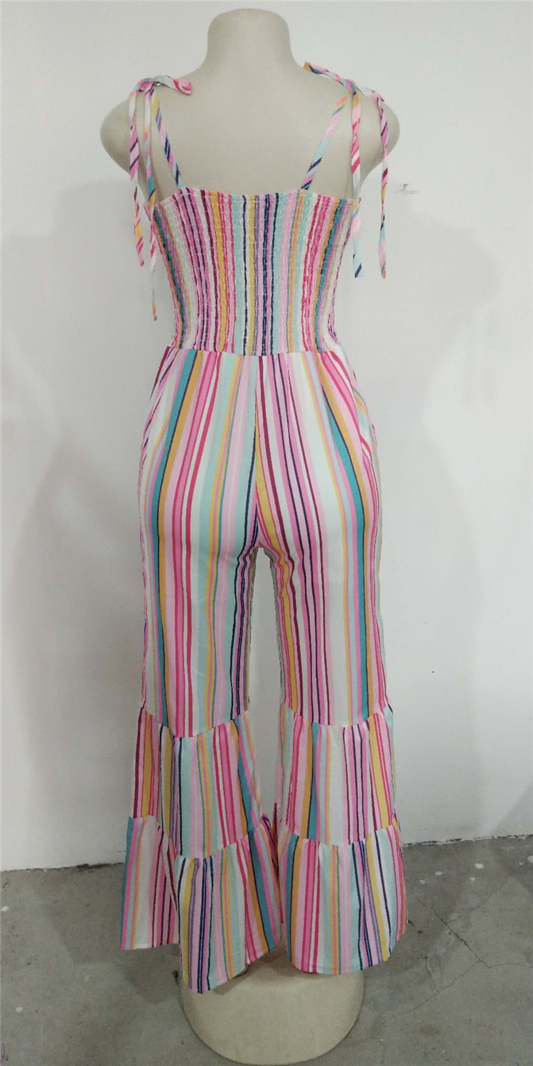 Wholesale women sexy summer casual spaghetti strap wide leg stripe jumpsuit