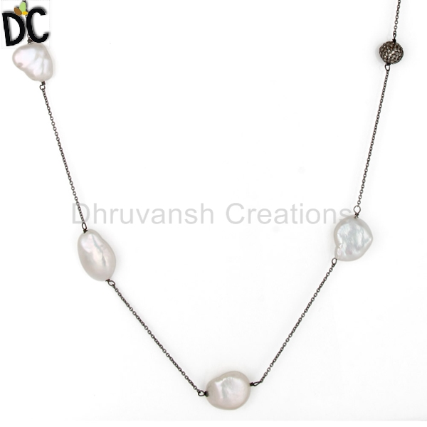 Natural Pearl Gemstone Pave Diamond Necklace Sterling Silver Chain Necklace Jewelry Supplier