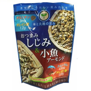 Healthy mixed seafood snack(small fish, shijimi clam, sunflower seeds, slice almond)